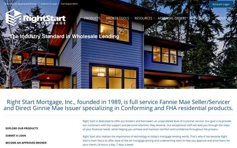 Screenshot of Home Page rsmwholesale.com - Right Start Mortgage - Wholesale Division - captured Nov. 15, 2018