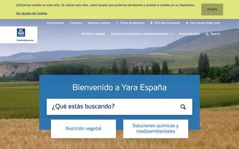 Screenshot of Home Page yara.es - Yara España | Yara España - captured Oct. 21, 2018
