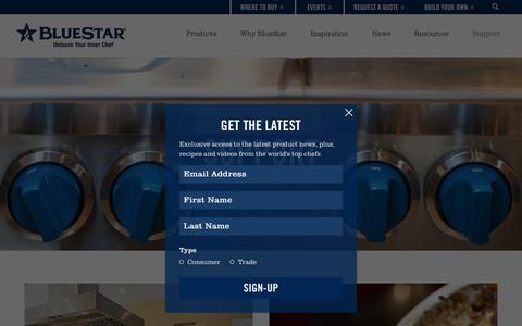 Screenshot of Support Page bluestarcooking.com - BlueStar Support | Find A Dealer, FAQ, Contact Us - captured Sept. 30, 2016