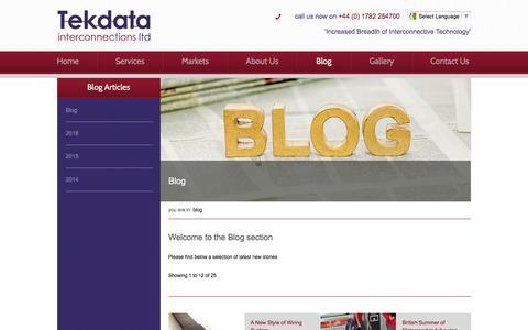 Screenshot of Blog tekdata-interconnect.com - Tekdata Blog and News - Tekdata - captured Feb. 18, 2016