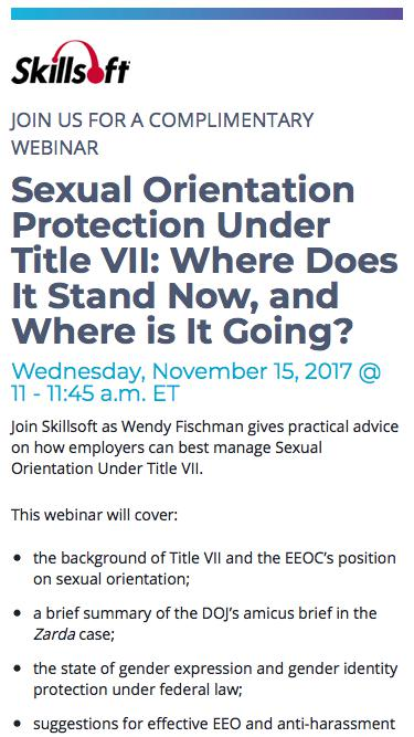 Webinar | Sexual Orientation Protection Under Title VII: Where Does It Stand Now, and Where is It Going?
