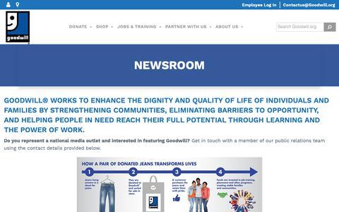Screenshot of Press Page goodwill.org - Newsroom - Goodwill Industries International - captured June 13, 2019