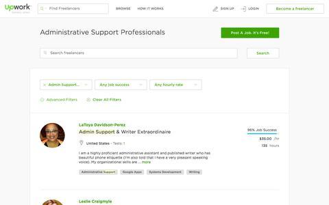 Screenshot of upwork.com - Hire Administrative Support Professionals - Upwork - captured March 20, 2016