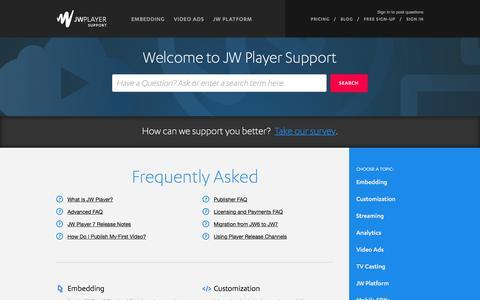 Screenshot of Support Page jwplayer.com - JW Player |      Portal - captured Nov. 25, 2015