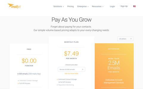 Screenshot of Pricing Page mailjet.com - Free email marketing software - captured June 15, 2017