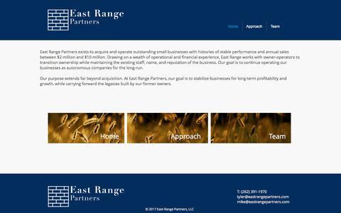 Screenshot of Home Page eastrangepartners.com - East Range Partners - captured July 13, 2017