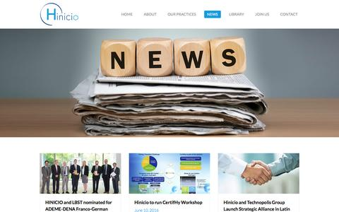 Screenshot of Press Page hinicio.com - Hinicio - News - captured July 9, 2016