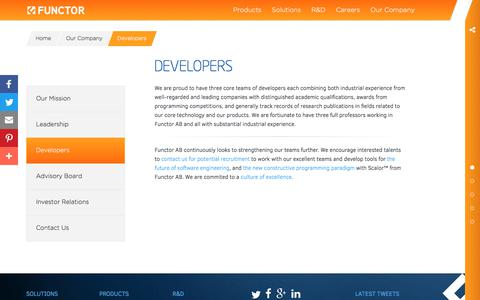 Screenshot of Developers Page functor.se - Functor - Innovating the Future of Software Engineering - captured Oct. 14, 2017