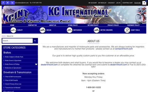 Screenshot of About Page kcint.com - About Us | KCINT KC International Motorcycle Supply Inc. - captured Oct. 14, 2018