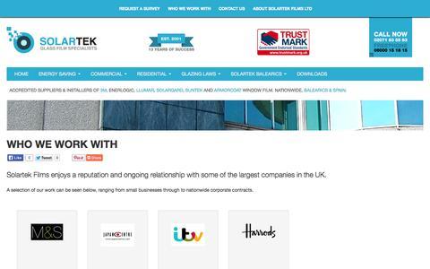 Screenshot of Case Studies Page solartekfilms.co.uk - Who We Work With - Solartek Films - captured Oct. 9, 2014