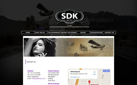 Screenshot of Contact Page sdkagencies.com - Cosmetic manufacturing South African Contact SDK Agencies - captured Aug. 1, 2015