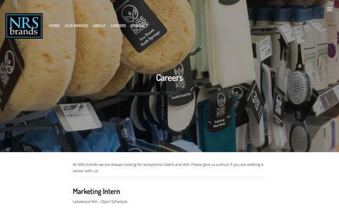 Screenshot of Jobs Page nrsbrands.com - Careers – NRS brands - captured Sept. 21, 2018