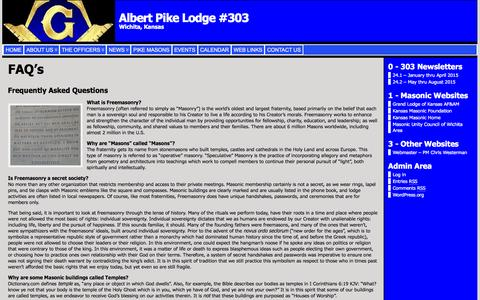 Screenshot of FAQ Page albertpikelodge303.org - FAQ's « Albert Pike Lodge #303 - captured June 24, 2016