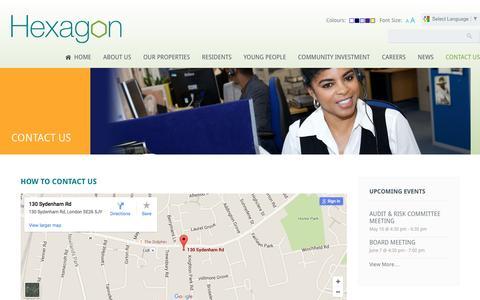 Screenshot of Contact Page hexagon.org.uk - Contact Us | Hexagon Housing Association - captured April 12, 2016