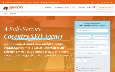 Screenshot of About Page mediaworkx.co.uk - We're Coventry SEO Agency | Full-Service Digital Agency - MediaWorkx Creative Digital - captured Sept. 23, 2018