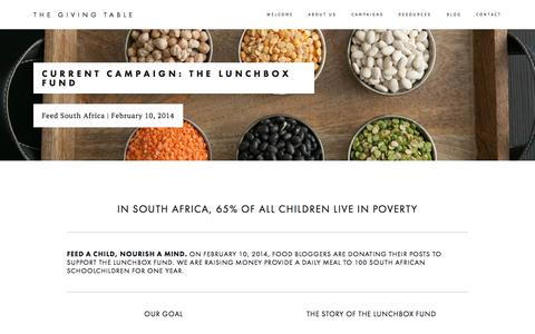Screenshot of Signup Page givingtable.org - Current Campaign: The Lunchbox Fund — The Giving Table - captured Oct. 6, 2014