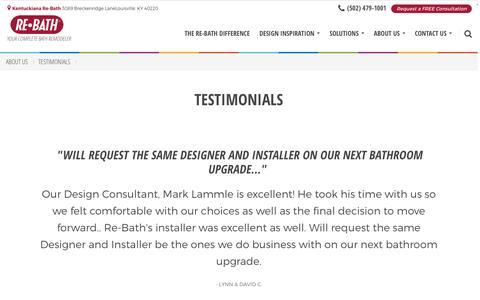 Screenshot of Testimonials Page rebath.com - Testimonials | [SiteProperty:SiteURL] Bathroom Remodeling | About Us - captured Nov. 27, 2016