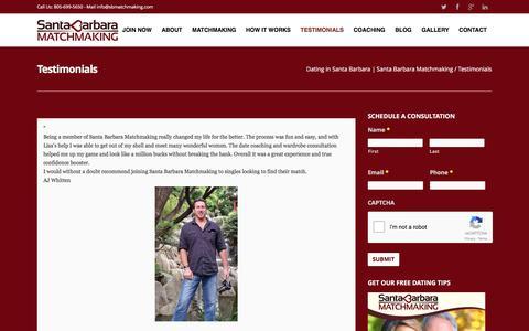 Screenshot of Testimonials Page santabarbaramatchmaking.com - Testimonials - Dating : Coaching : Matchmaking : 805-699-5650 - captured May 28, 2017