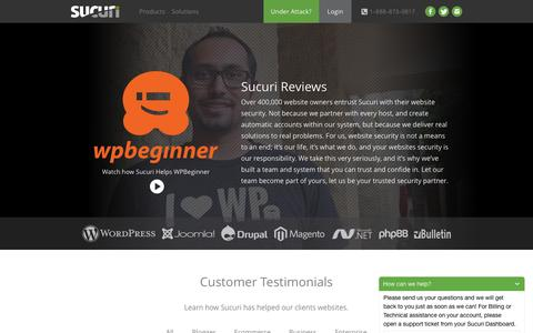 Screenshot of Testimonials Page sucuri.net - Sucuri Reviews | Website Security Clients - captured Aug. 20, 2016