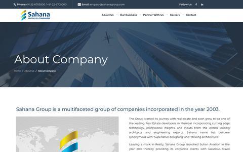 Screenshot of About Page sahanagroup.com - Sahana Group : A Multifaceted Group of Companies I Realty I Hospitality I News I Aviation I SRA Rehabilitation - captured Sept. 28, 2018