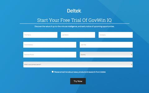 Screenshot of Landing Page deltek.com - Identify & Win More Government Business with GovWin IQ | Deltek - captured Feb. 7, 2019