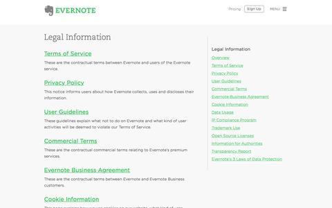 Screenshot of evernote.com - Evernote Legal Information | Evernote - captured June 17, 2015