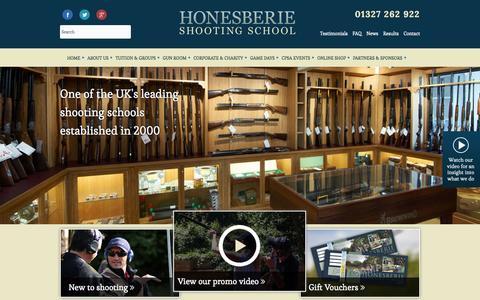 Screenshot of Home Page honesberieshooting.co.uk - Shooting Ground Warwickshire - Honesberie Shooting School - captured Sept. 30, 2014