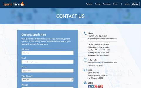 Screenshot of Contact Page sparkhire.com - Contact Us - Spark Hire - captured Oct. 21, 2015