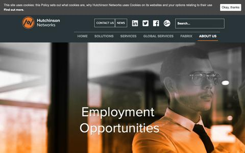 Screenshot of Jobs Page hutchinsonnetworks.com - Current Opportunities - Hutchinson Networks - captured Sept. 29, 2018
