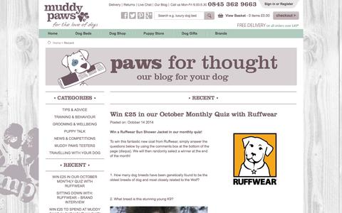 Screenshot of Blog muddypaws.co.uk - Paws for Thought - The Muddy Paws Blog for Your Dog - captured Oct. 26, 2014