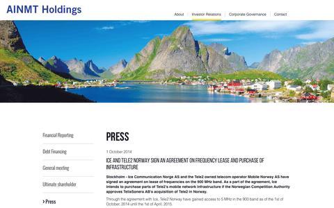 Screenshot of Press Page ainmt.com - Press - captured Oct. 4, 2014