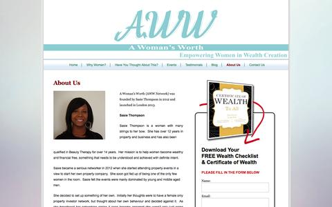 Screenshot of About Page awwnetwork.com - About Us - A Woman's Worth - captured Oct. 1, 2014