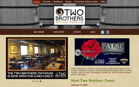 Screenshot of Home Page twobrothersbrewing.com - Two Brothers Brewing Company | Chicago Craft Beer - captured Feb. 16, 2016