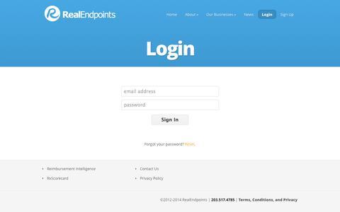 Screenshot of Login Page realendpoints.com - Login | RealEndpoints - captured Oct. 26, 2014