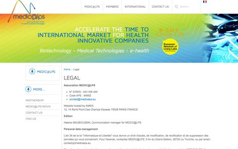 Screenshot of Terms Page medicalps.eu - MEDIC@LPS: legal - captured Oct. 3, 2014