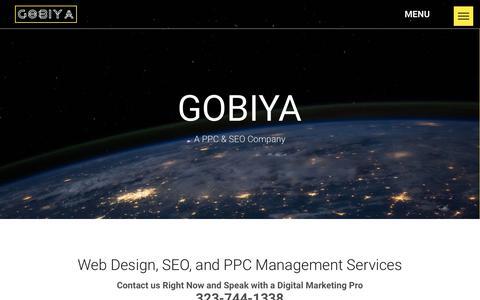 Screenshot of Home Page gobiya.com - GOBIYA Website Design + SEO Los Angeles — (323)-744-1338 - captured March 16, 2019