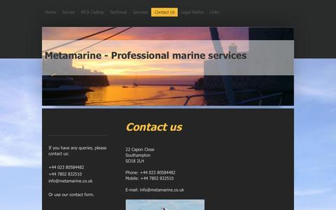 Screenshot of Contact Page metamarine.co.uk - Metamarine - Marine Services - Contact Us - captured Jan. 10, 2016