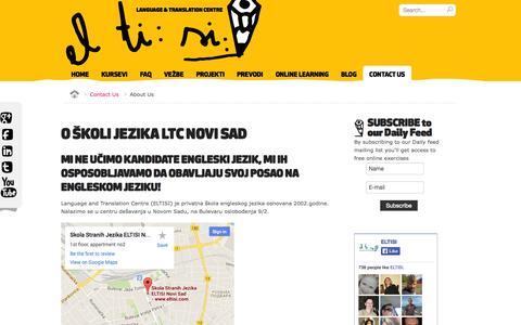 Screenshot of About Page eltisi.com - O ŠKOLI JEZIKA LTC NOVI SAD - Skola stranih jezika Novi Sad LTC - captured Oct. 2, 2014