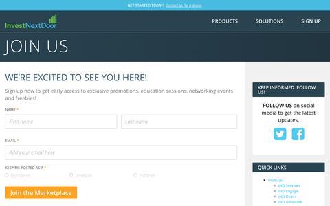 Screenshot of Signup Page investnextdoor.com - Join Us - InvestNextDoor - captured June 8, 2017
