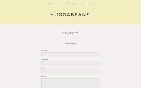 Screenshot of Contact Page bigcartel.com - Contact / Huggabeans - captured Sept. 19, 2014