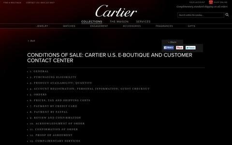Conditions of Sale – Cartier