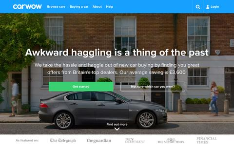 Screenshot of Home Page carwow.co.uk - carwow | The better way to buy a new car - captured June 9, 2016