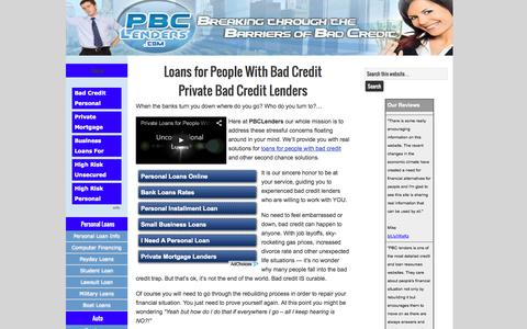Screenshot of Home Page private-bad-credit-lenders.com - Loans for People With Bad Credit - Private Bad Credit Lenders - captured Oct. 1, 2014