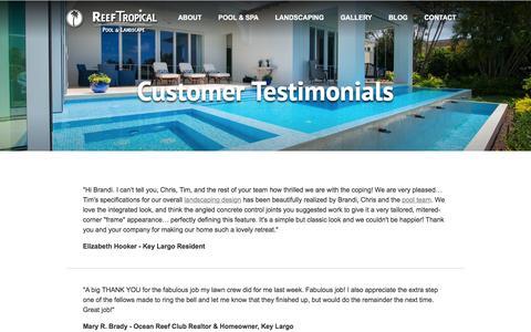 Screenshot of Testimonials Page reeftropical.com - Customer Testimonials | Reef Tropical | South Florida - captured Dec. 1, 2016