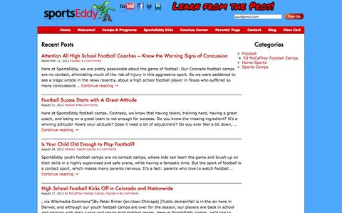 Screenshot of Blog sportseddy.com - Blog | youth football camp colorado | youth sports camp colorado - captured Oct. 6, 2014