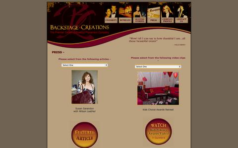 Screenshot of Press Page backstagecreations.com - Award Show Gifting Suites – Celebrity Gifting at Awards Shows - captured Sept. 30, 2014