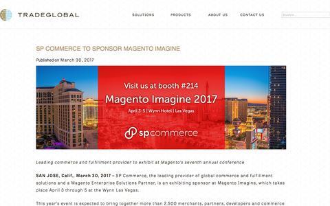 Screenshot of Press Page tradeglobal.com - SP Commerce to Sponsor Magento Imagine - TradeGlobal® - captured Feb. 20, 2020