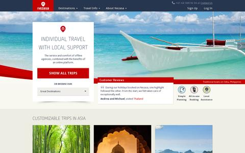 Screenshot of Home Page nezasa.com - Nezasa.com - Individual Travel with Local Support - Nezasa Travel - captured July 11, 2014