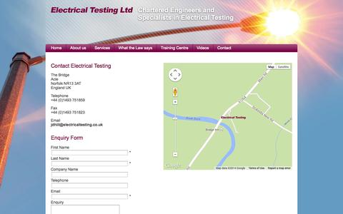 Screenshot of Contact Page electricaltesting.co.uk - Contact Electrical Testing - captured Oct. 2, 2014