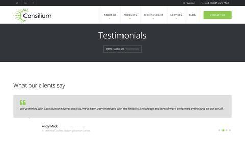 Screenshot of Testimonials Page consilium-uk.com - Clients   Testimonials   What our clients say about Consilium - captured Aug. 27, 2017